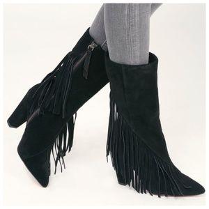 SPLENDID Camron Fringe Heeled Boots Suede Boho 8.5